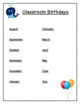 Birthday Classroom Page