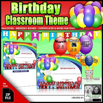 Birthday Classroom Theme Bundle - Certificate, Balloons, Birthday Board and more