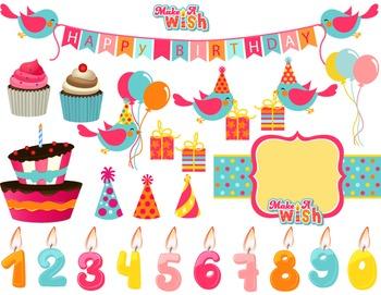 Birthday Clip Art Digital Birthday Bird Birthday Banner Birthday Cake Balloon