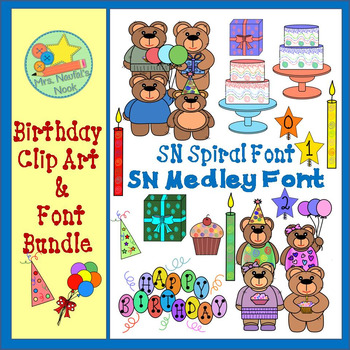 Birthday Clip Art and Font Bundle