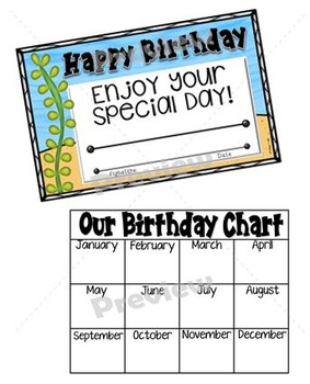 Birthday Clip Chart and Cards - Ocean