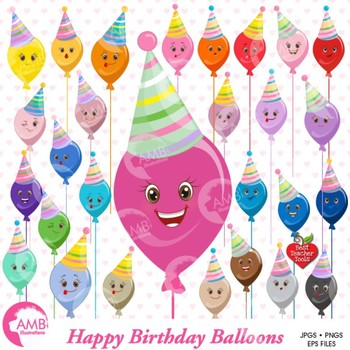 Birthday Clipart, Balloon Clipart, Emoticons, AMB-1198