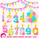 Birthday Clipart, Birthday Candles, Numbers and Balloons C