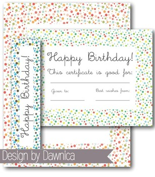 Birthday Clipart Bookmarks & Certificates