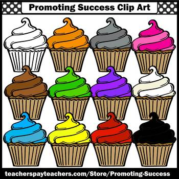 Birthday Clipart, Commercial Use SPS, Birthday Cupcakes Clip Art, Primary Colors