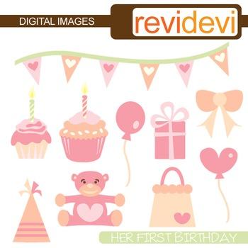 Birthday Clipart - Her First Birthday