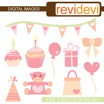 Birthday Clipart - Her First Birthday