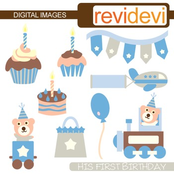 Birthday Clipart - His First Birthday