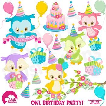 Birthday Clipart, Owl Clipart, Owls party Clip Art, AMB-1186