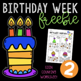 Birthday Week Freebie #2 - Coin Counting Worksheet