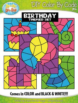 Birthday Color By Code Clipart {Zip-A-Dee-Doo-Dah Designs}