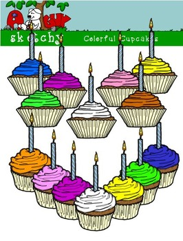 Birthday Colorful Cupcake Clipart Graphics