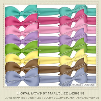 Birthday Colors Digital Bow Graphics package 1