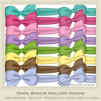 Birthday Colors Digital Bow Graphics package 2
