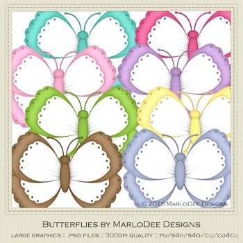 Birthday Colors Digital Butterfly Graphics