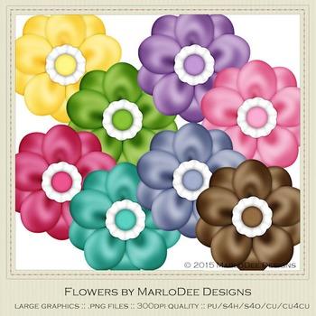 Birthday Colors Digital Flower Graphics package 1