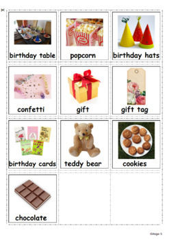 Birthday Communication Cards for Autism, Pecs