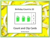 Birthday Counting to 20 Count and Clip Special Education Math, Kindergarten Math