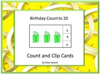 Birthday Task Cards Counting to 20  Kindergarten Special E