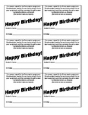 Birthday Coupon / Half Off Assignment