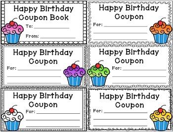 birthday coupons editable by caitlin natale teachers pay teachers