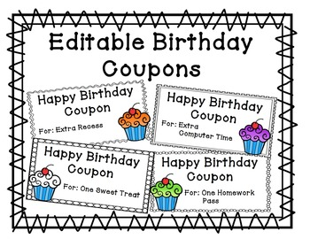 Birthday Coupons - Editable