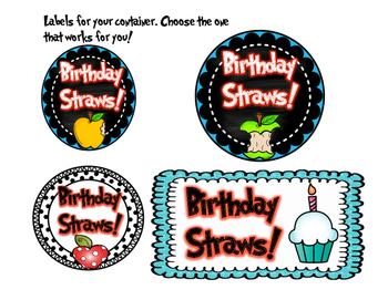 Birthday Crazy Straw Tags Apple Theme