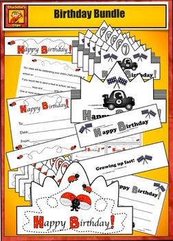 Birthday Crowns - Birthday Bundle - Balloon, Ladybug and R