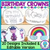 Birthday Crowns   20 Designs Plus Editable Version {Color & BW}