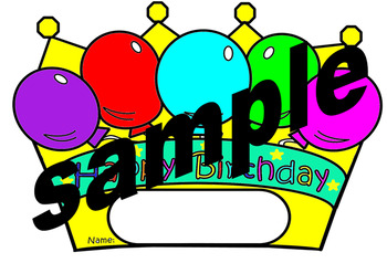 Birthday Crowns for Boys and Girls to color and colored  (English only)
