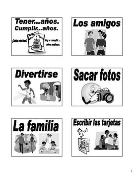 Birthday Cumpleanos Flash Cards in Spanish  (28 cards included)