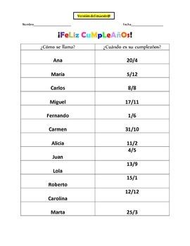 Birthday - Cumpleanos Information Gap Activity