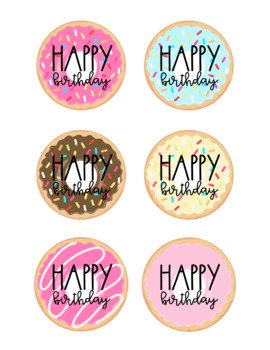 Birthday Cup Labels- Donut Edition