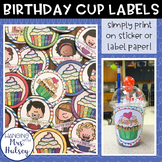 Birthday Cup Labels or Tags