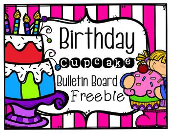Birthday Cupcake Bulletin Board Freebie