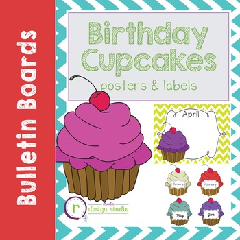 Birthday Cupcake Bulletin Board Labels or Posters