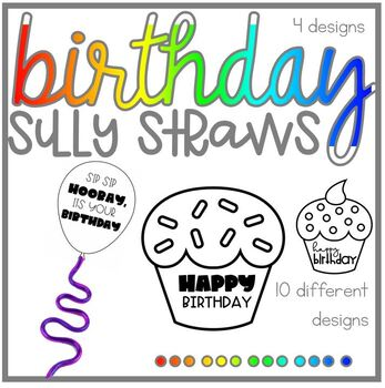 Birthday Cupcake Silly Straw Toppers