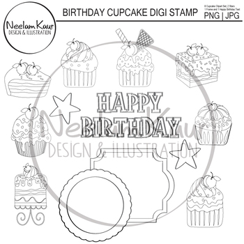 Birthday Cupcake Stamp, Digi Stamp, Party Digistamp, Cupcake Greeting Card