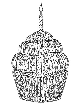 Birthday Cupcake Zentangle Coloring Page By Pamela Kennedy Tpt