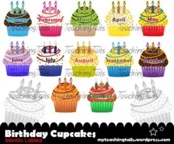 Birthday Cupcakes Bundle: Classroom Birthday Lables