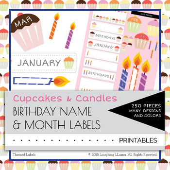 Birthday Cupcakes Candles Calendar Name Labels