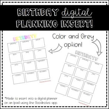 Birthday DIGITAL Planning Insert
