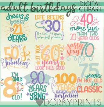 Birthday Decade Word Art Digital Clip Art