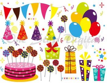 Birthday Digital Clip Art Birthday Banner Birthday Cake Balloon Gift box Hat