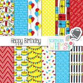 Birthday Digital Paper - red, yellow, & blue