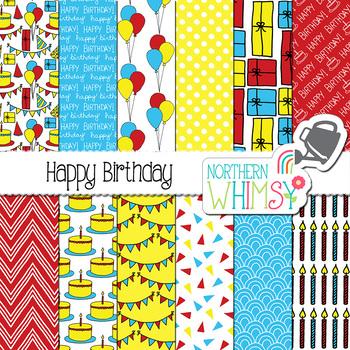 Birthday Digital Paper - red, yellow, & blue