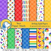 Birthday Digital Scrapbook Papers & Backgrounds, Rainbow Birthday Paper