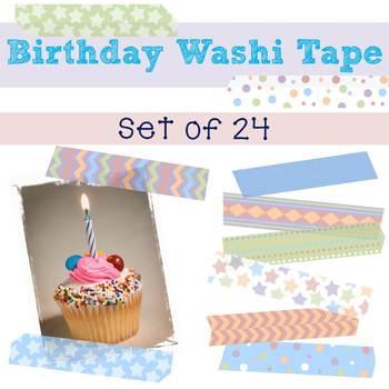 Birthday Digital Washi Tape Set of 24