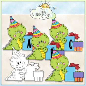 Birthday Dino 1 - Commercial Use Alphas Clip Art & 1 Black and White Image