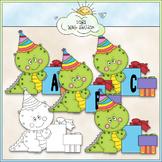 Birthday Dino 1 - Commercial Use Alphas Clip Art & 1 Black